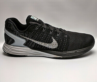 2d04167cec82 Size 11.5 NIKE Lunarglide 7 Mens Running shoes 803566-001 Black Silver  Running