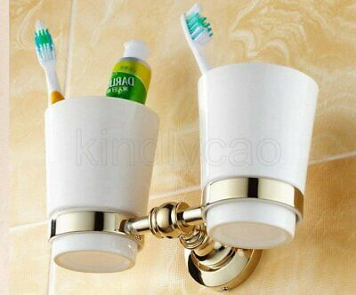 Gold Color Brass Wall Mounted Tooth Brush Holder With Dual Ceramic Cups Kba138