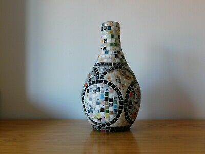 c.19th - Antique Vintage British Hand Made Bottle Mosaic Vase