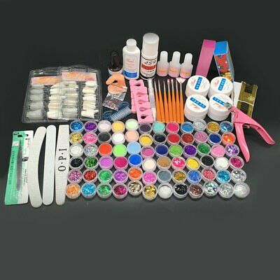 New 72 Acrylic Powder Glitter Nail Brush False Tips UV Gel Nail Art Tool Kit Set