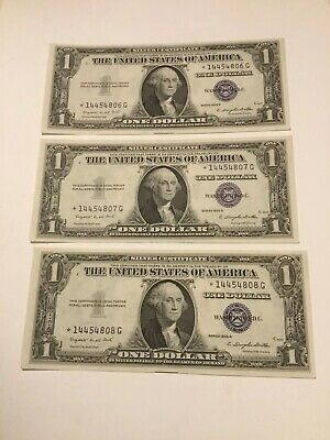 VINTAGE lot 3 CONSECUTIVE 1935-G STAR SILVER CERTIFICATE ONE DOLLAR NO MOTTO VNC