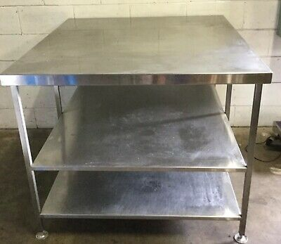 Commercial Kitchen Stainless Large Bakers Preparation Bench & Under Shelves