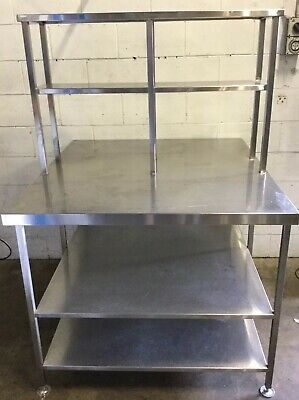 Commercial Kitchen Stainless Bakers Preparation Bench & Gantry 2 X Under Shelves
