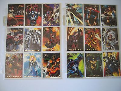Marvel Flair 94 Set Complet De 18  Power Blast  Bonus Cards  Tbe