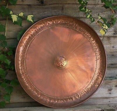 MCM Hand Beaten Copper Wall Charger Plate Starburst  Sunburst 60s / 70s   56cm