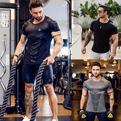 Men Gym Sport Fitness Muscle Bodybuilding Training Cotton T-shirt Tee new
