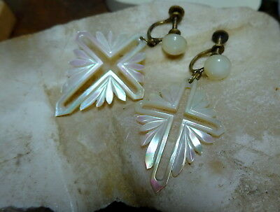 Exquisite Bethlehem Carved Mother of Pearl Cross Screw back Earrings