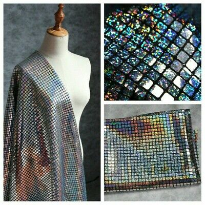 Laser Plaid Fabric Sequin Mesh Material Glitter Shiny Bling Stage Decor 100*95CM