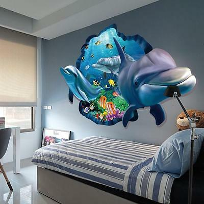 Dolphin Decals Vinyl Floor/Wall Sticker Removable Art Living Room 3D Decor WL