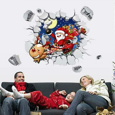 3D Santa Claus Wall Stickers Decals Removable Art Window Room Xmas Decor WL