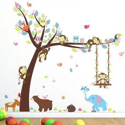 Kid Baby Animals Jungle Tree Monkey Wall Stickers Nursery Room Decal Decor WL