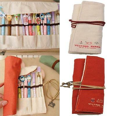 Retro Canvas Wrap Roll Up Pencil Pen Case Makeup Buggy Pouch Stationery Bags WL