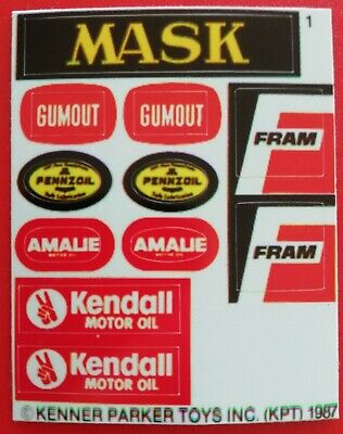 Afterburn MASK Kenner gloss vinyl sticker//label//decal sheet Replacement M.A.S.K