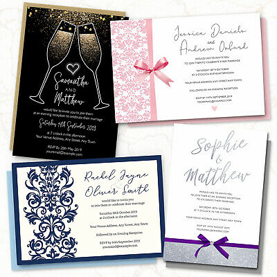 Personalised Wedding Day or Evening Invitations Invites Card FREE Envelopes (G1)