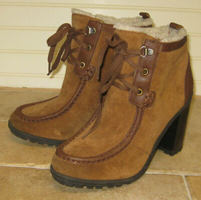 154369af177a Sam Edelman Boots Fur Lined Brown Tan Suede Laces Block Heel Size 8.5 M