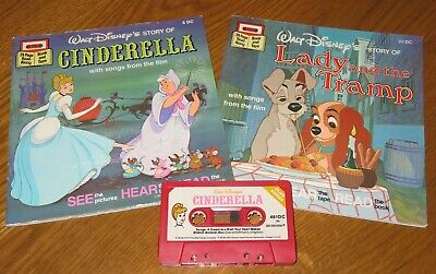 Walt Disney CINDERELLA/LADY & THE TRAMP Read/Sing Along BOOK on Tape CASSETTE