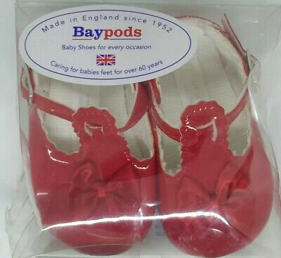 Baypods Girls Baby Shoes Red w/ Bow Christening Wedding Party T-Bars 6-12 months