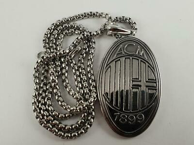 Stainless Steel AC Milan Logo pendant and necklace 60cm chain soccer football
