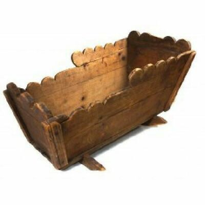 Primitive Antique Handmade Wooden Doll Cradle Folk Art Made from Coffee Crate