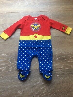 Fun Baby Girl Wonderwoman Sleep Suit Various Sizes From 0-3 Up To 12 Months