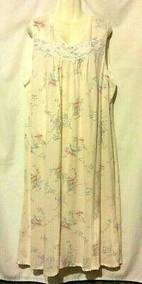eecc96a85a New Women s Earth Angels Peach Bouquet Floral Sleeveless Cotton Nightgown  3X Nwt