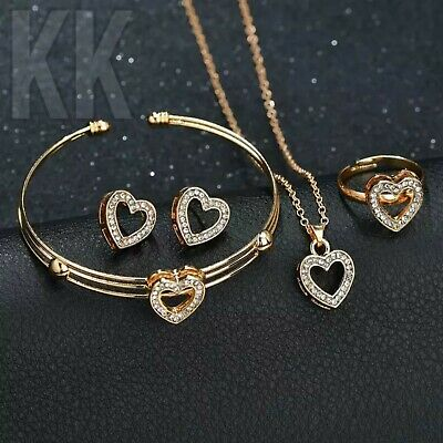Heart Shape Neclace Earrings Sets Jewelry Crystal Children Lovely Gold for girl