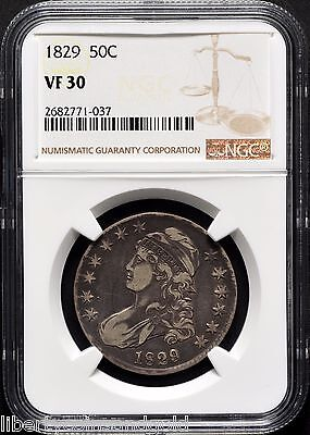 1829 Small Letters Capped Bust Silver Half-Dollar NGC VF 30