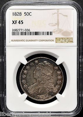 1828 Square Base 2, Small 8's Capped Bust Silver Half-Dollar NGC XF 45