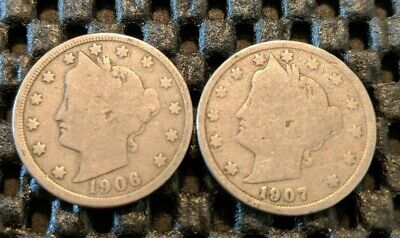 "1907 & 1906 Liberty Head ""V"" Nickel Lot! Free Shipping!"