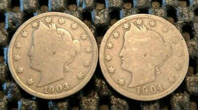 "1903 & 1904 Liberty Head ""V"" Nickel Lot! Free Shipping!"