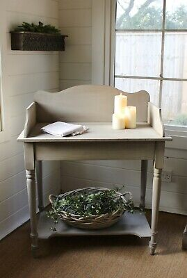"""Adorable Solid Pine """"rustic Painted""""antique Wash Stand/console Table/french Grey"""