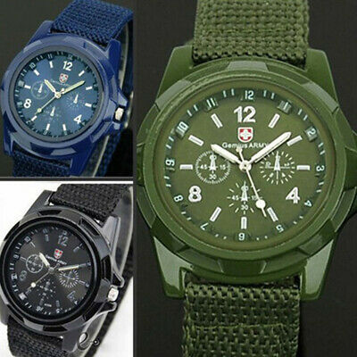 Military Men Gemius Swiss Army Sport Round Dial Quartz Nylon Band Wrist Watch WR