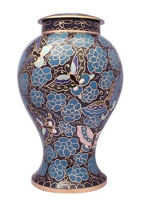 Large Cremation Urn For Ashes Adult Urn Memorial Blue Painted Urn CLEARANCE SALE