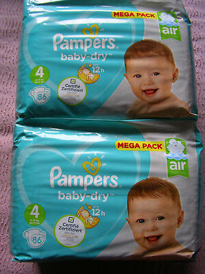 Lot 172 couches Pampers baby-dry taille 4 (9-14kg)