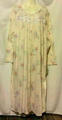 cdcd1dab8f New Women s Earth Angels Peach Bouquet Floral Long Sleeve Nightgown Robe  Size 3X