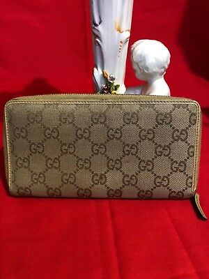 38311fae0 100% Authentic GUCCI Canvas/Leather GG Mono Zip Around Wallet Biege*Italy