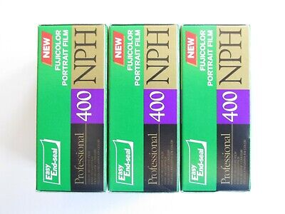 Lot: 3 Expired Rolls 120 Fuji Color Nph 400 Iso Negative Print Portrait Film C41