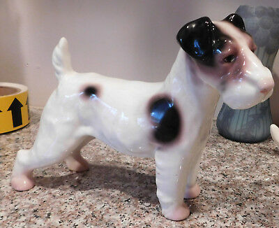 "Vintage Old Ceramic Hand Painted Erphila Germany Terrier Dog Figurine 7"" + Tall"