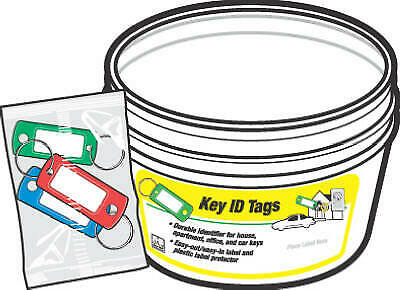 KB138-BKT Key Identification Tag with Split Ring In Display Bucket, Assorted,
