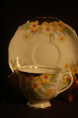 Royal Albert Crown handpainted Yellow Floral   Cup and Saucer