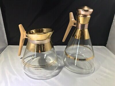 Vintage Inland Glass Carafe And Matching  Coffee Pot Gold Trim Retro