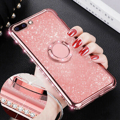 For iPhone XS Max XR 7 8 Plus Case Bling Crystal Ring Stand TPU Silicone Cover