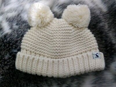 Joules Baby Girls Cream With Pink Lining Pom Pom Hat Age 0-6 Months