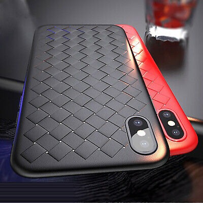 For iPhone XR XS Max X 8 Protective Slim Woven Grid Soft TPU Silicone Case Cover