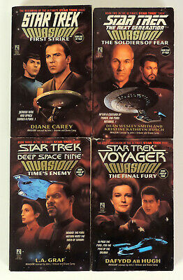 LOT Star Trek: Invasion! 4 book crossover series TOS, TNG, DS9,VOY 1996 Pocket