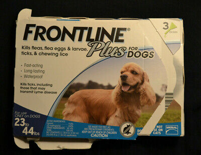 Frontline Plus For Dogs 23-44, 23to44 lbs. Three Month Supply, 3 Doses.