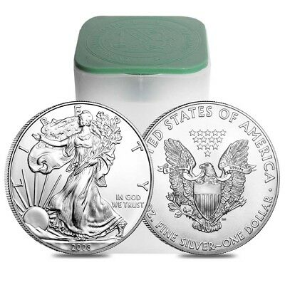 Roll of 20 - 2008 1 oz Silver Eagle Brilliant Uncirculated