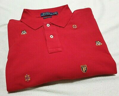Polo Ralph Lauren Designer Polo Shirt Red Badge Design Xl Rrp £95