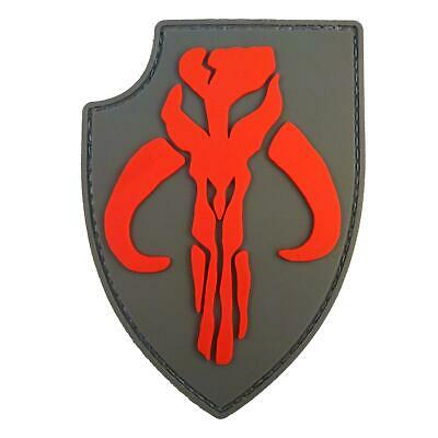 boba fett star wars mandalorian PVC red/gray shield rubber 3D ACU hook patch