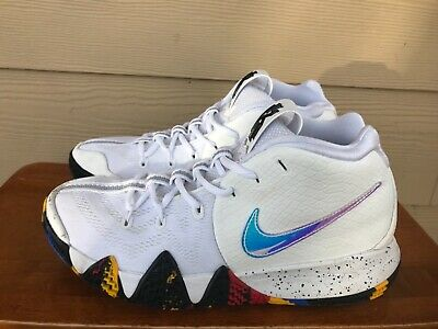 """6aabbbfd8c4b Nike Kyrie 4 """"March Madness"""" M en s White Multi-Color Basketball Shoes"""